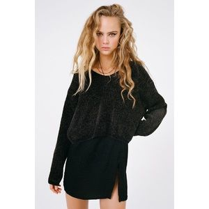 Urban Outfitters | Black Chenille V Neck Sweater